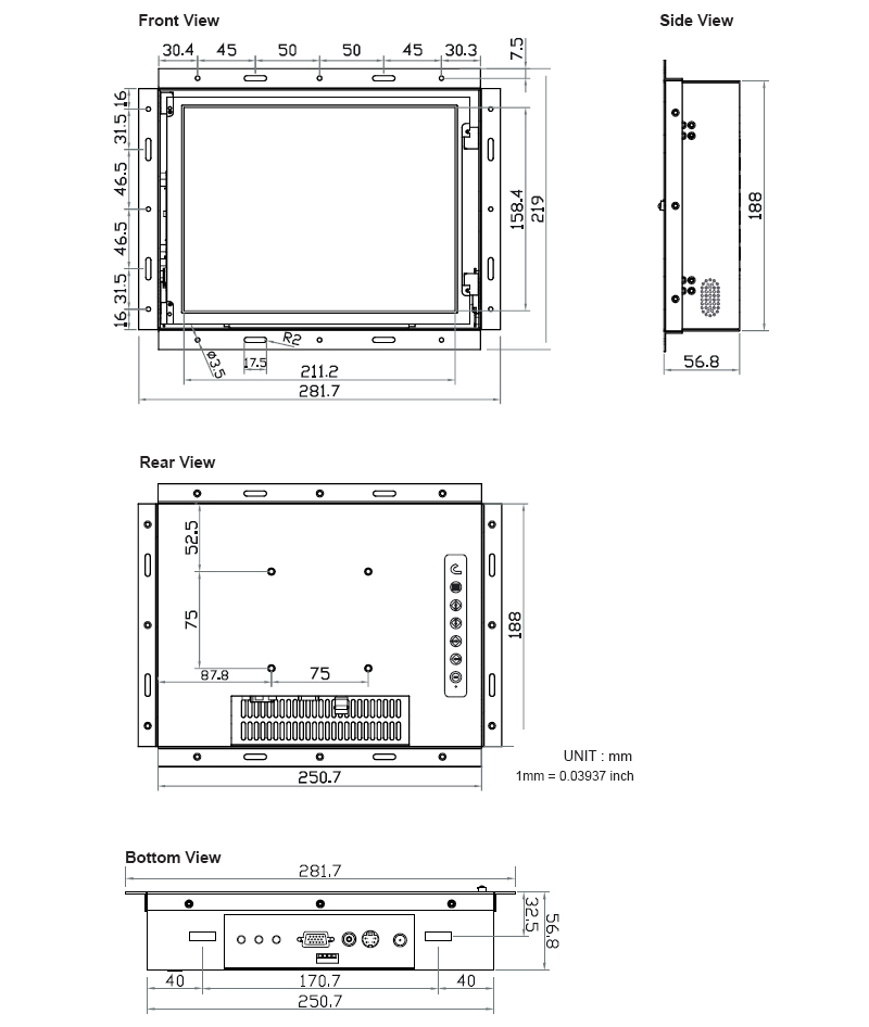 10 4 inch panel mount monitor for industrial display