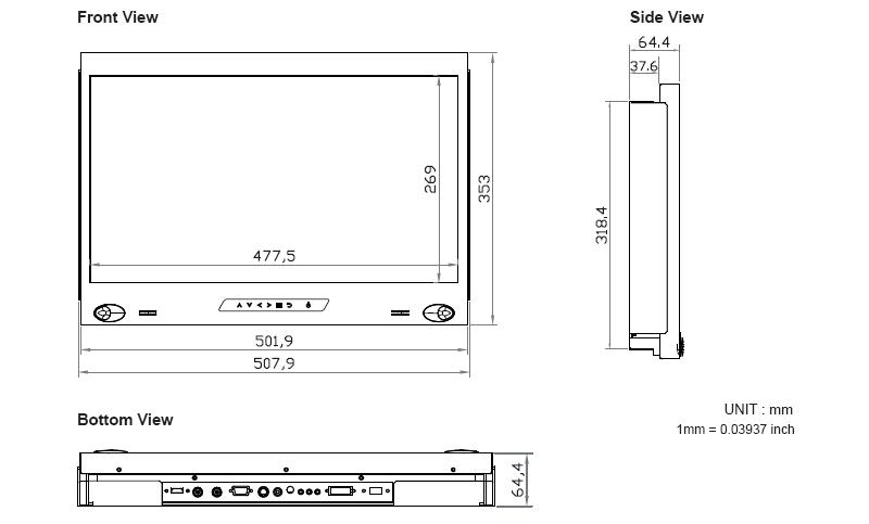 215 Inch 1920 X 1080 Full HD 8U High Rackmount Monitor