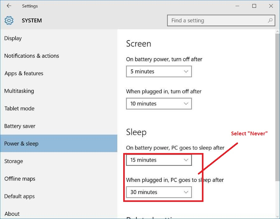 How to disable Sleep Mode or Hibernation in Windows 10